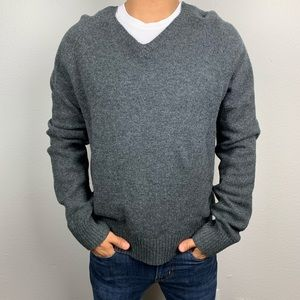 J.Crew Gray V-Neck Lambswool Sweater Medium